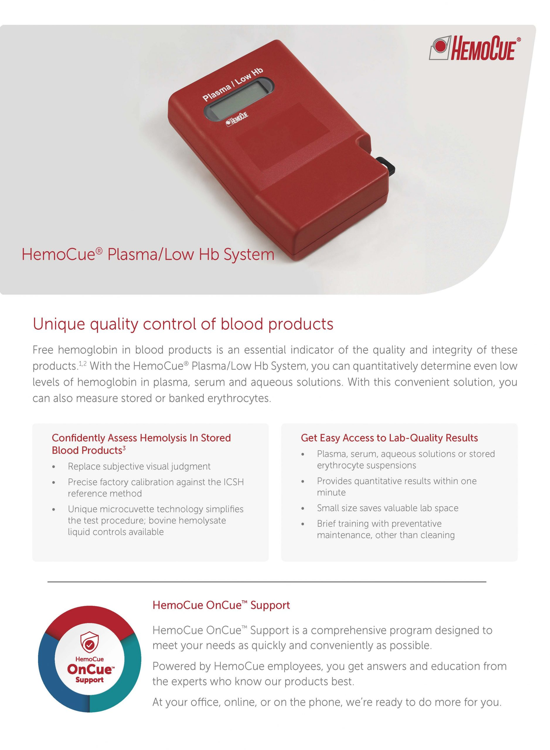 HemoCue Plasma/Low Hb Product Brochure