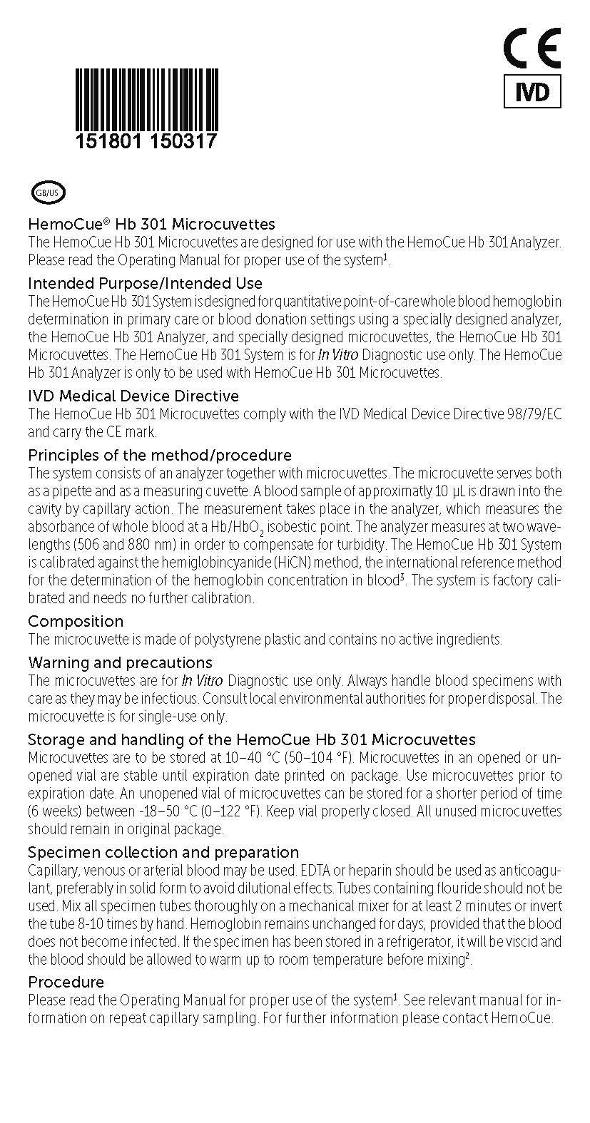 HemoCue Hb 301 Product insert