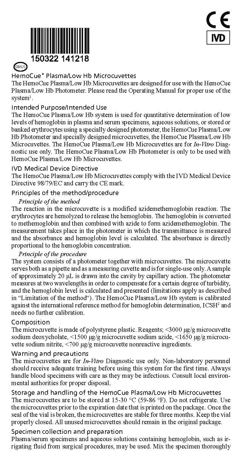 HemoCue Plasma/Low Product Insert