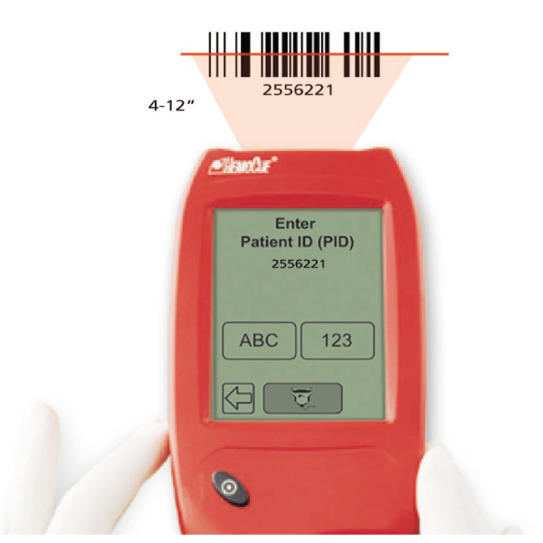 HemoCue Hb 201 DM Barcode scanner for patient information
