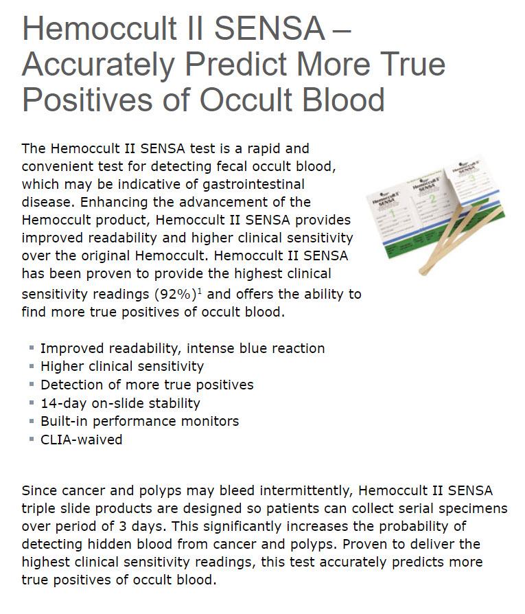 Hemoccult sensa 2 test