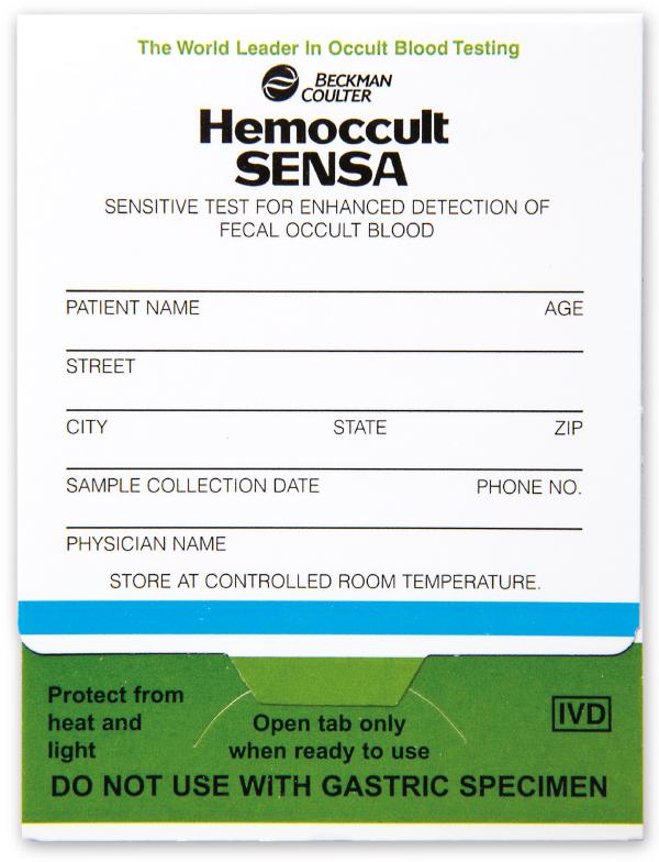 Hemoccult II SENSA Collection Card