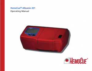 HemoCue Albumin 201 Systerm Operating Manual