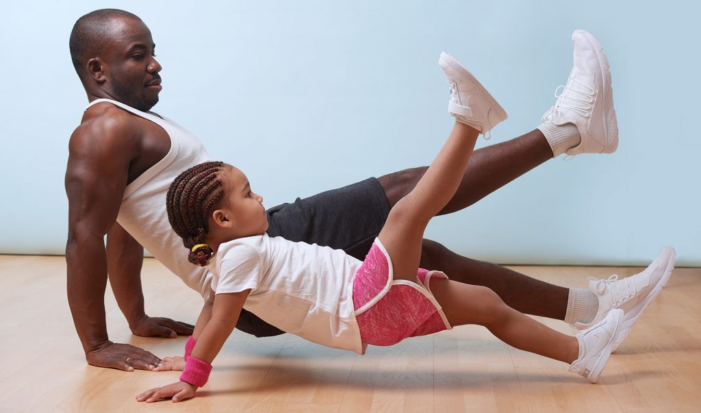 father and daughter yoga