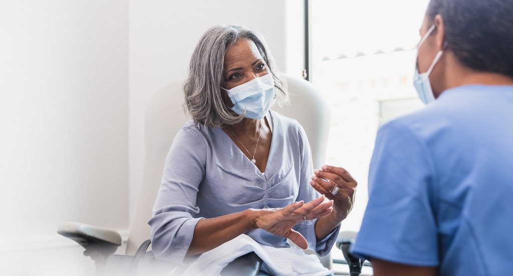 Patient consulting with her physician