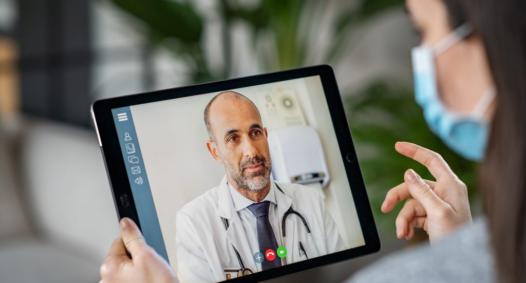 video call with doctor on an iPad